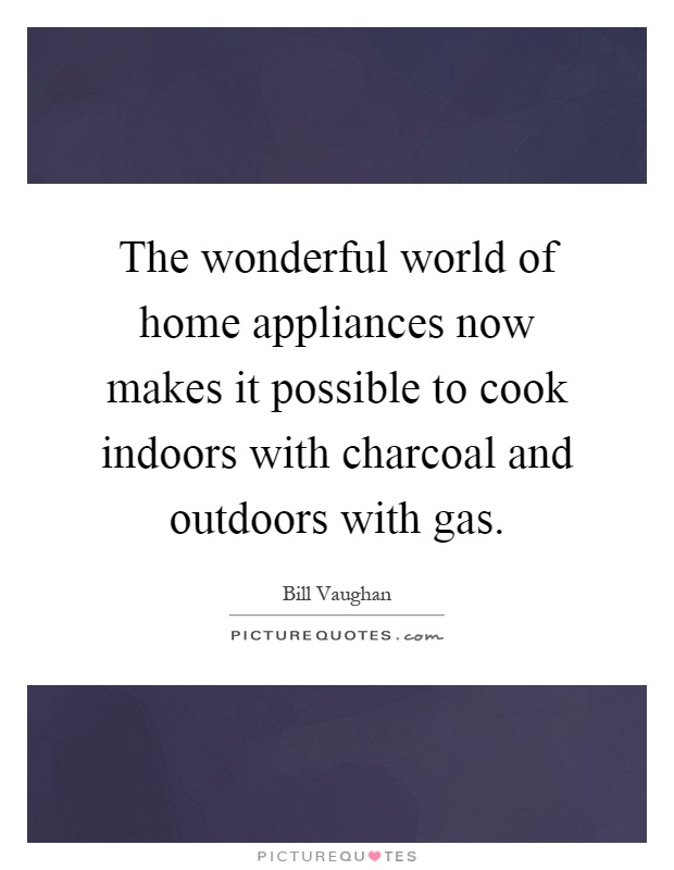 The wonderful world of home appliances now makes it possible to cook indoors with charcoal and outdoors with gas Picture Quote #1