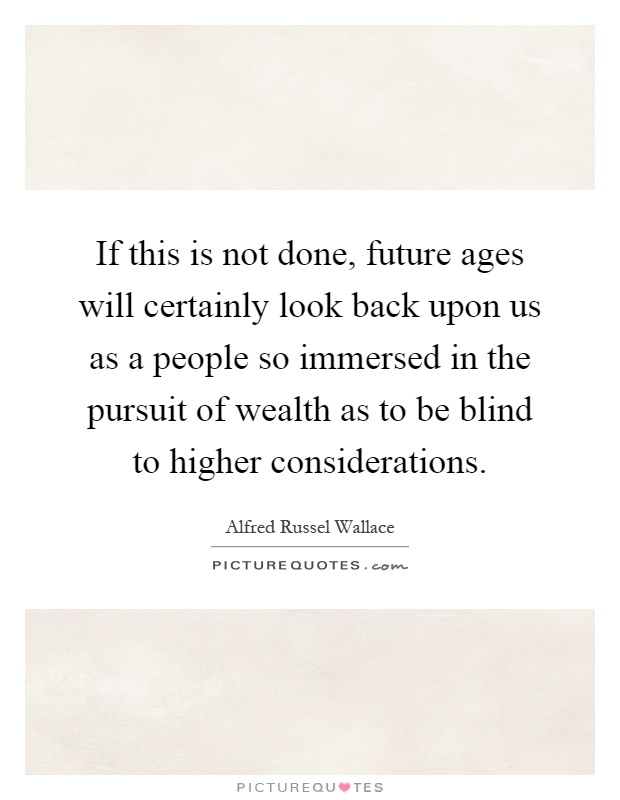 If this is not done, future ages will certainly look back upon us as a people so immersed in the pursuit of wealth as to be blind to higher considerations Picture Quote #1