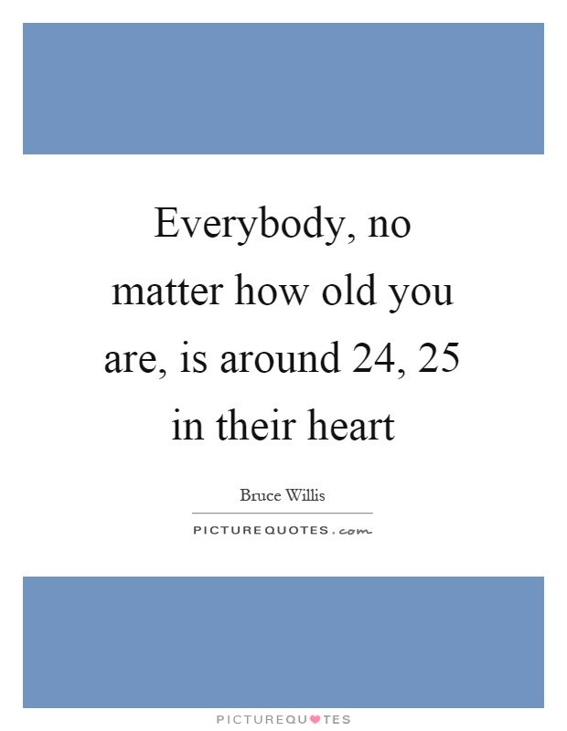 Everybody, no matter how old you are, is around 24, 25 in their heart Picture Quote #1