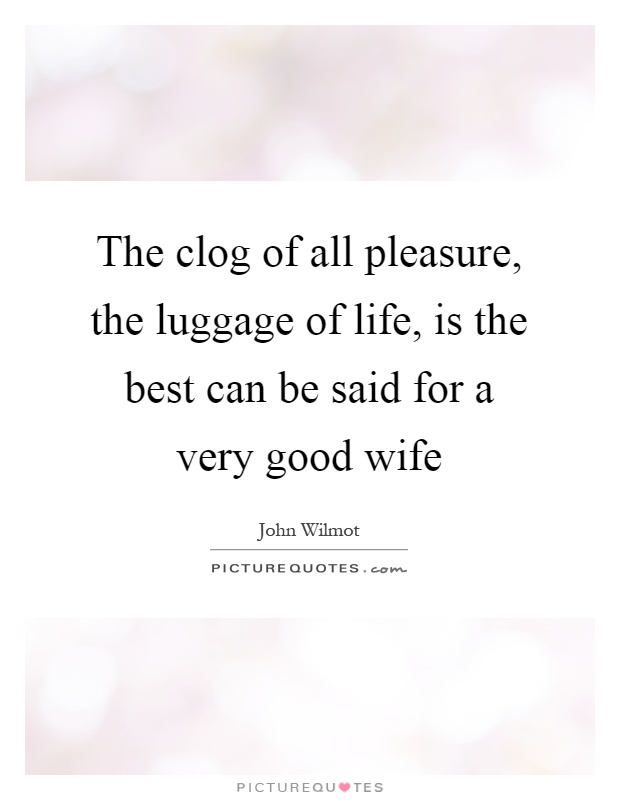 The clog of all pleasure, the luggage of life, is the best can be said for a very good wife Picture Quote #1