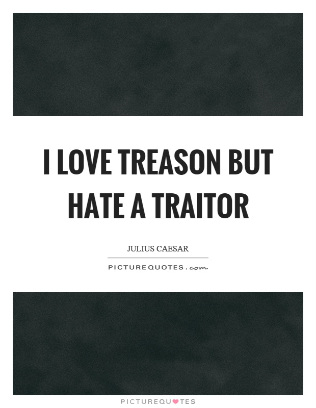 I love treason but hate a traitor Picture Quote #1
