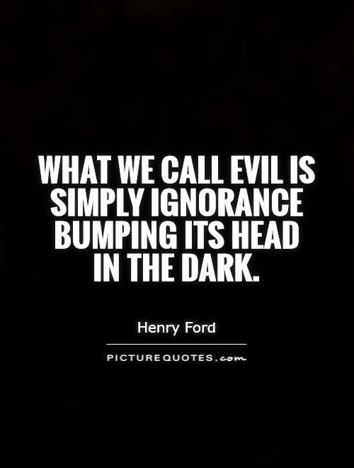 What we call evil is simply ignorance bumping its head in the dark Picture Quote #1