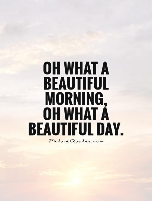 Oh what a beautiful morning,  oh what a beautiful day Picture Quote #1