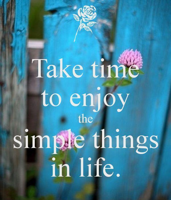 Take time to enjoy the simple things in life Picture Quote #1