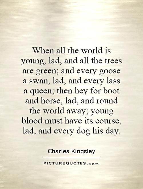 When all the world is young, lad, and all the trees are green; and every goose a swan, lad, and every lass a queen; then hey for boot and horse, lad, and round the world away; young blood must have its course, lad, and every dog his day Picture Quote #1