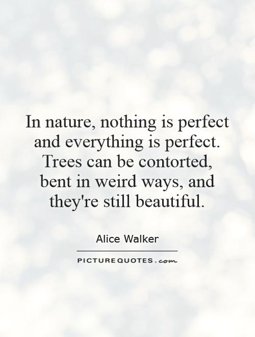 In nature, nothing is perfect and everything is perfect. Trees can be contorted, bent in weird ways, and they're still beautiful Picture Quote #1