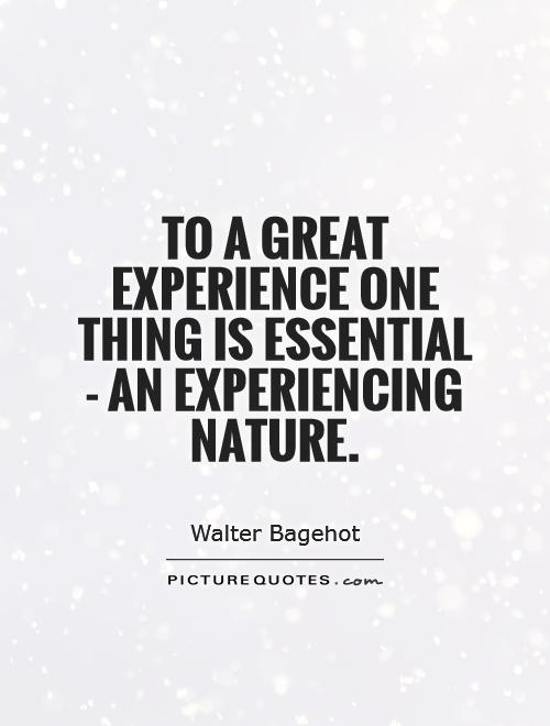 To a great experience one thing is essential - an experiencing nature Picture Quote #1