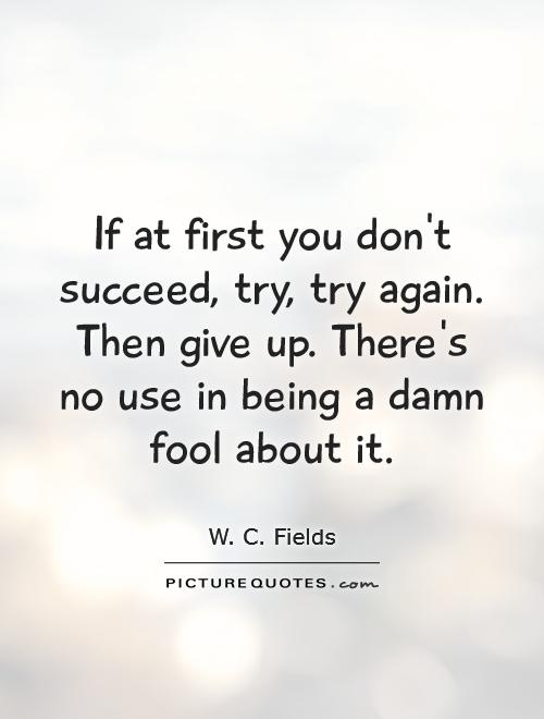 If at first you don't succeed, try, try again. Then give up. There's no use in being a damn fool about it Picture Quote #1