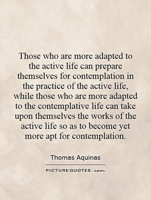 Those who are more adapted to the active life can prepare themselves for contemplation in the practice of the active life, while those who are more adapted to the contemplative life can take upon themselves the works of the active life so as to become yet more apt for contemplation Picture Quote #1