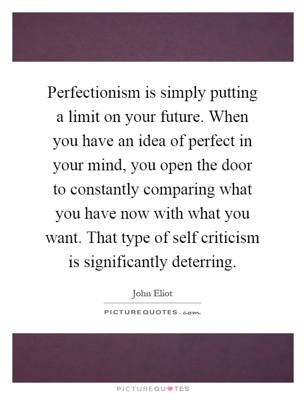 Perfectionism is simply putting a limit on your future. When you have an idea of perfect in your mind, you open the door to constantly comparing what you have now with what you want. That type of self criticism is significantly deterring Picture Quote #1