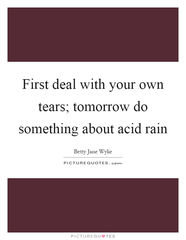 First deal with your own tears; tomorrow do something about acid rain Picture Quote #1