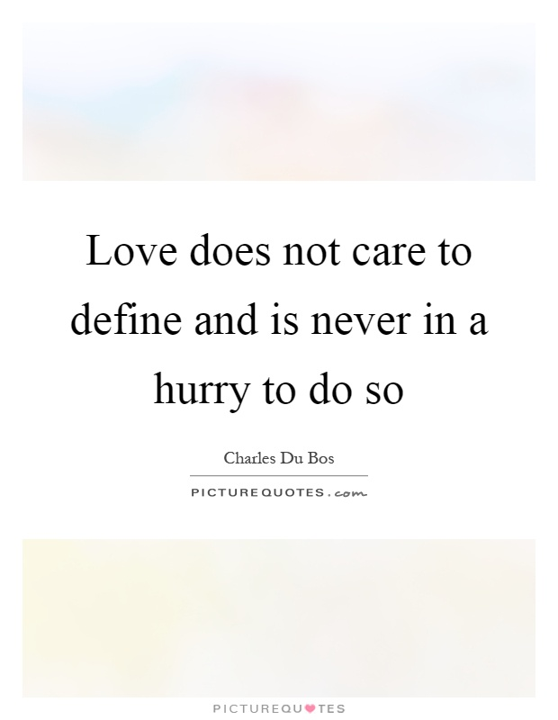 Love does not care to define and is never in a hurry to do so Picture Quote #1