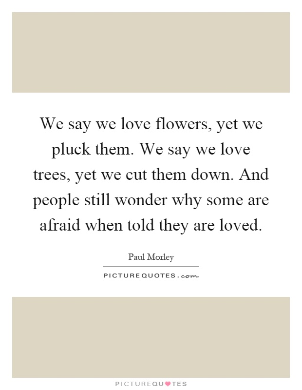 We say we love flowers, yet we pluck them. We say we love trees, yet we cut them down. And people still wonder why some are afraid when told they are loved Picture Quote #1