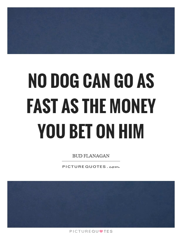 No dog can go as fast as the money you bet on him Picture Quote #1