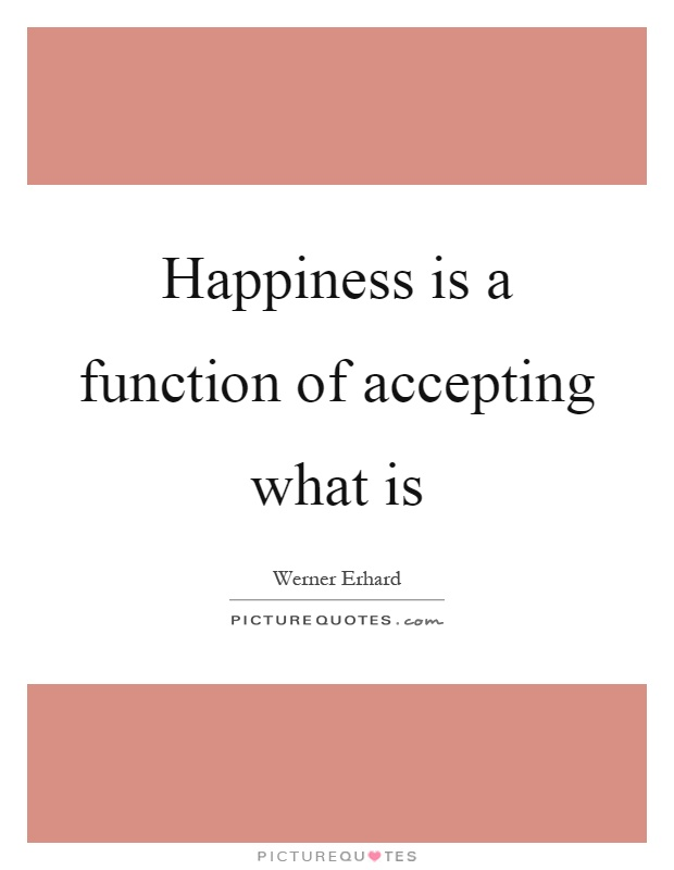 Happiness is a function of accepting what is Picture Quote #1