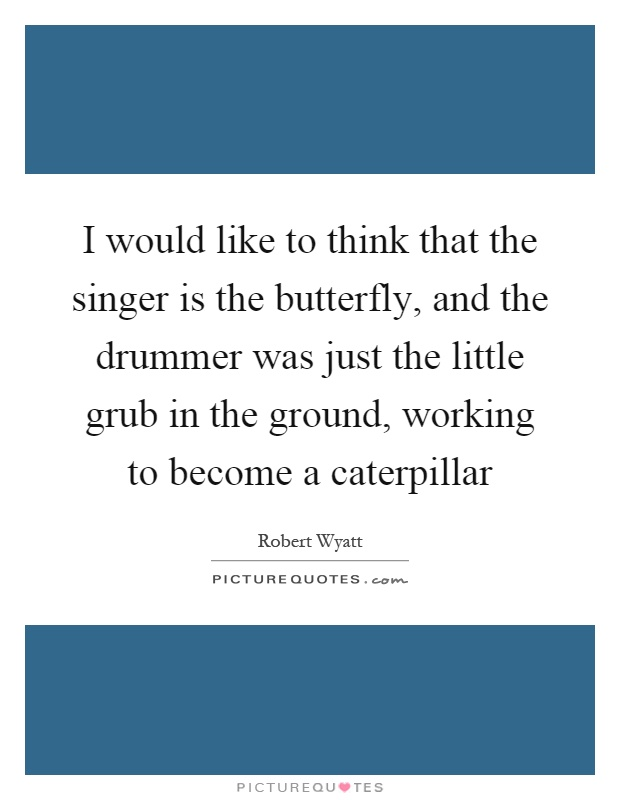 I would like to think that the singer is the butterfly, and the drummer was just the little grub in the ground, working to become a caterpillar Picture Quote #1
