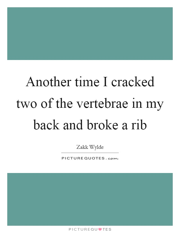 Another time I cracked two of the vertebrae in my back and broke a rib Picture Quote #1