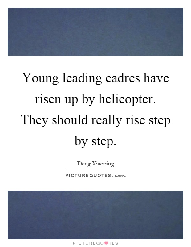 Young leading cadres have risen up by helicopter. They should really rise step by step Picture Quote #1