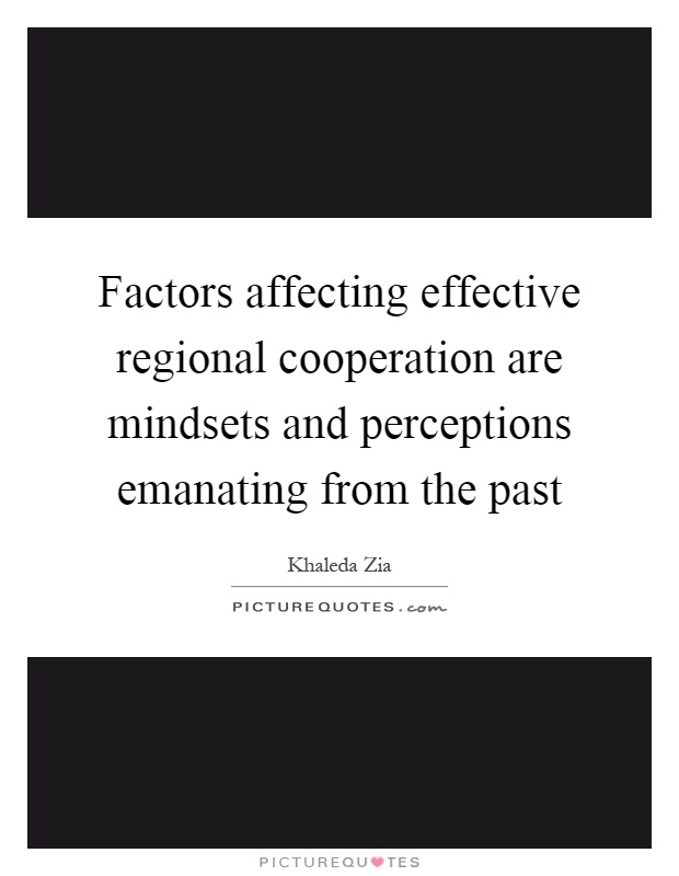 Factors affecting effective regional cooperation are mindsets and perceptions emanating from the past Picture Quote #1