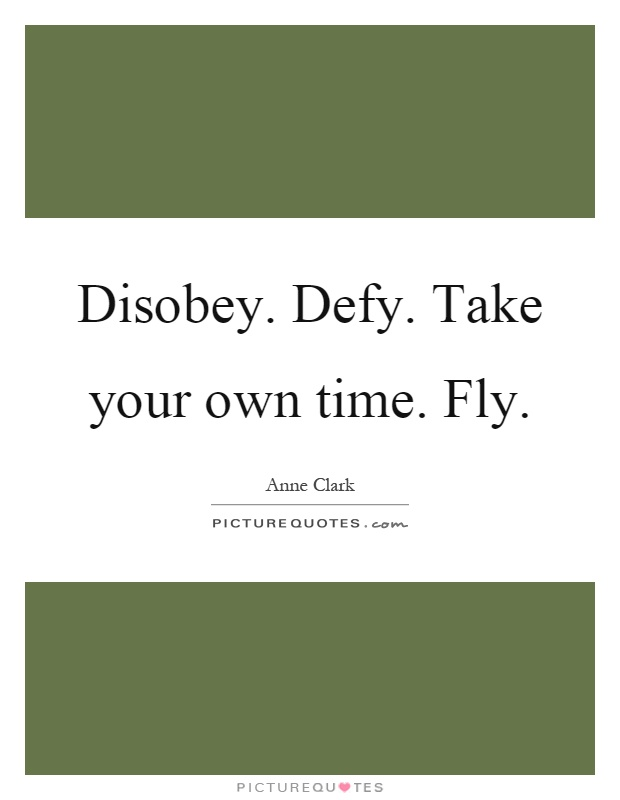 Disobey. Defy. Take your own time. Fly Picture Quote #1