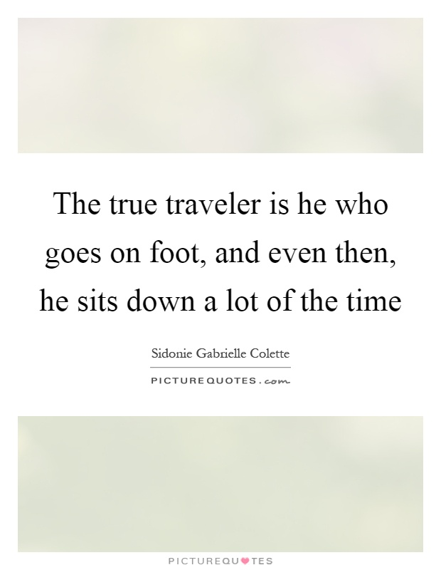 The true traveler is he who goes on foot, and even then, he sits down a lot of the time Picture Quote #1