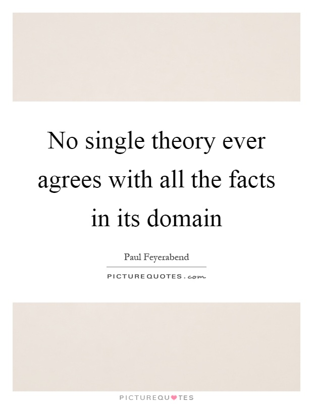 No single theory ever agrees with all the facts in its domain Picture Quote #1