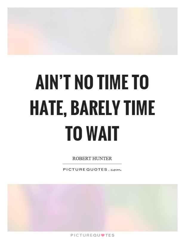 Ain't no time to hate, barely time to wait Picture Quote #1