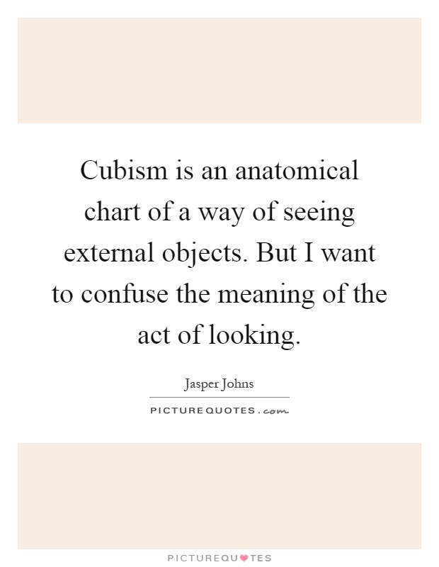 Cubism is an anatomical chart of a way of seeing external objects. But I want to confuse the meaning of the act of looking Picture Quote #1