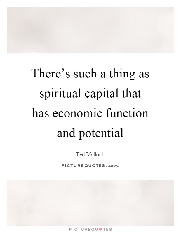 There's such a thing as spiritual capital that has economic function and potential Picture Quote #1