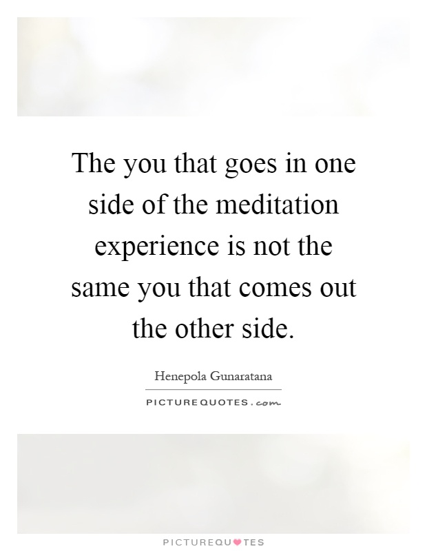 The you that goes in one side of the meditation experience is not the same you that comes out the other side Picture Quote #1