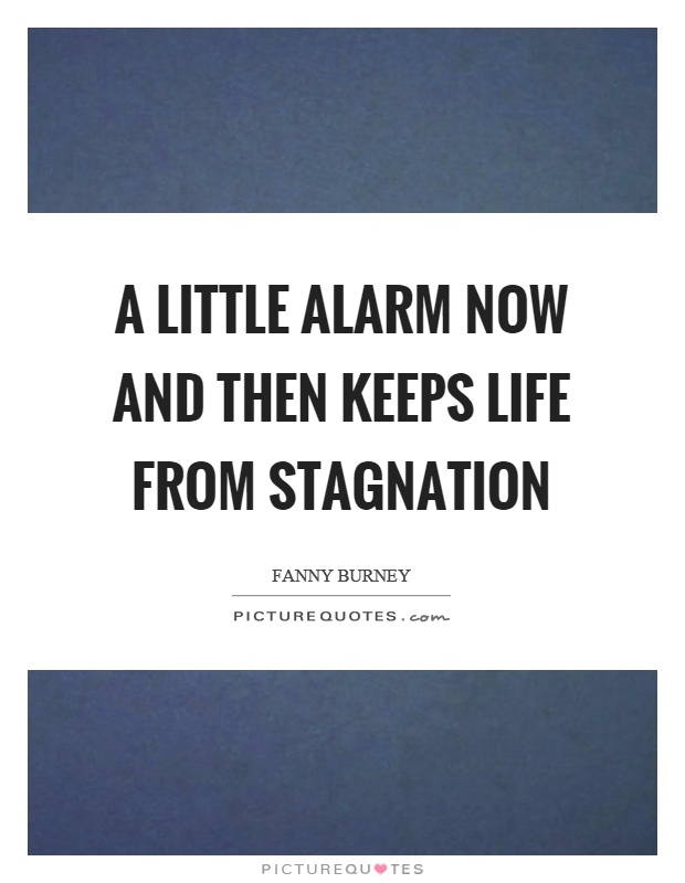 A little alarm now and then keeps life from stagnation Picture Quote #1