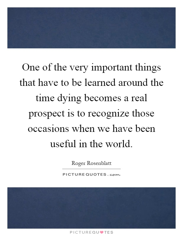 One of the very important things that have to be learned around the time dying becomes a real prospect is to recognize those occasions when we have been useful in the world Picture Quote #1