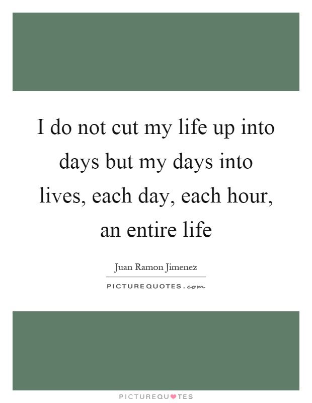 I do not cut my life up into days but my days into lives, each day, each hour, an entire life Picture Quote #1