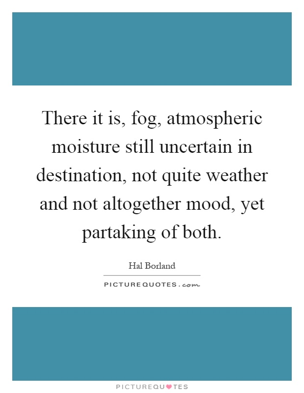 There it is, fog, atmospheric moisture still uncertain in destination, not quite weather and not altogether mood, yet partaking of both Picture Quote #1