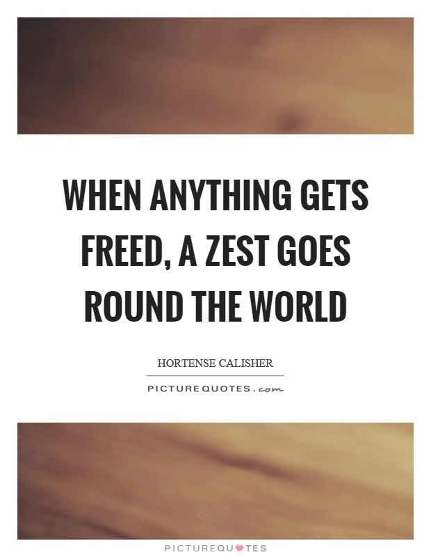 When anything gets freed, a zest goes round the world Picture Quote #1