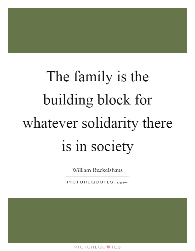 The family is the building block for whatever solidarity there is in society Picture Quote #1