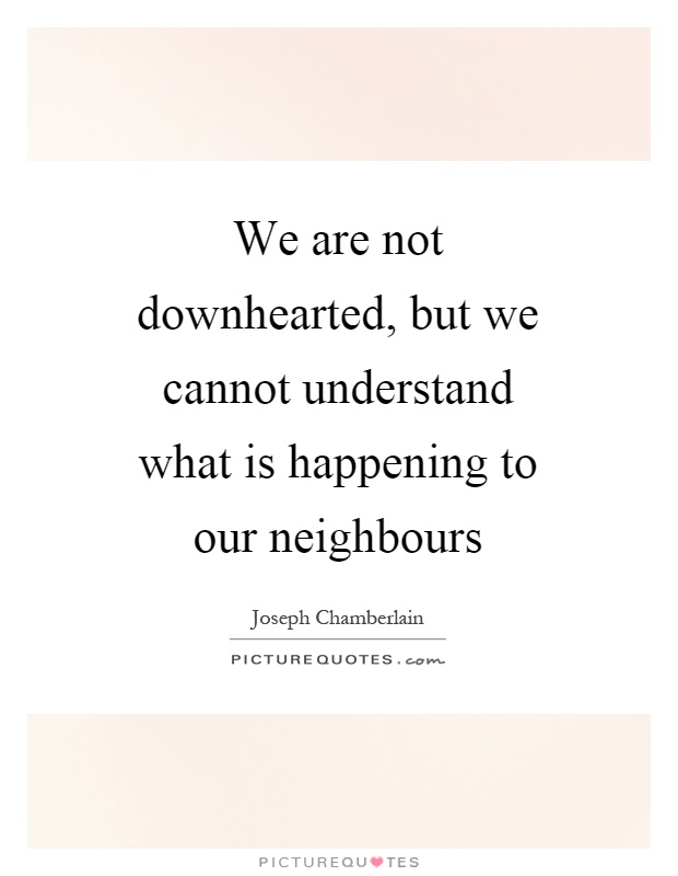 We are not downhearted, but we cannot understand what is happening to our neighbours Picture Quote #1