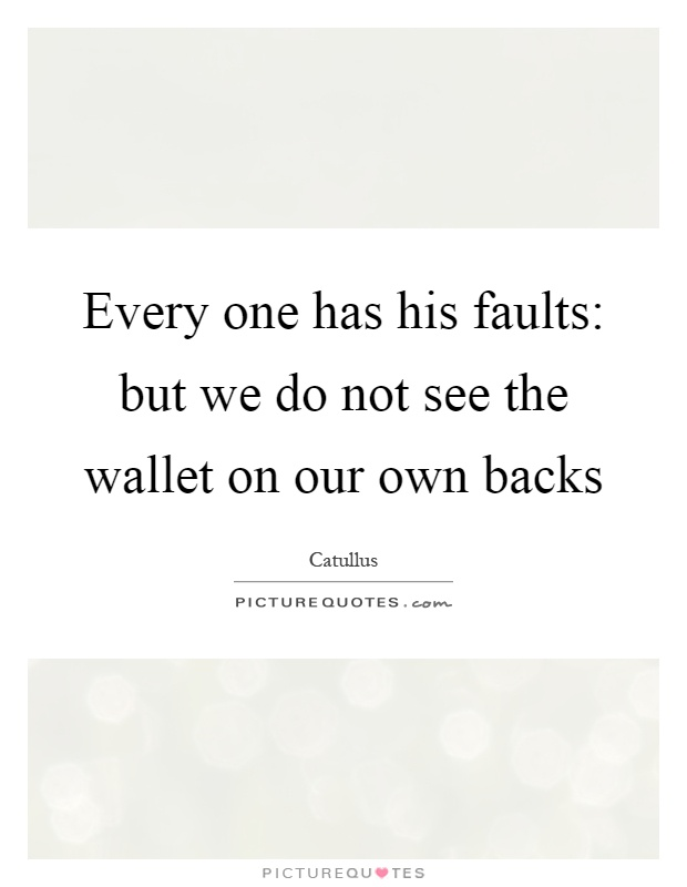 Every one has his faults: but we do not see the wallet on our own backs Picture Quote #1