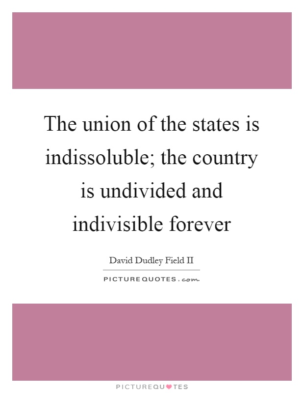 The union of the states is indissoluble; the country is undivided and indivisible forever Picture Quote #1