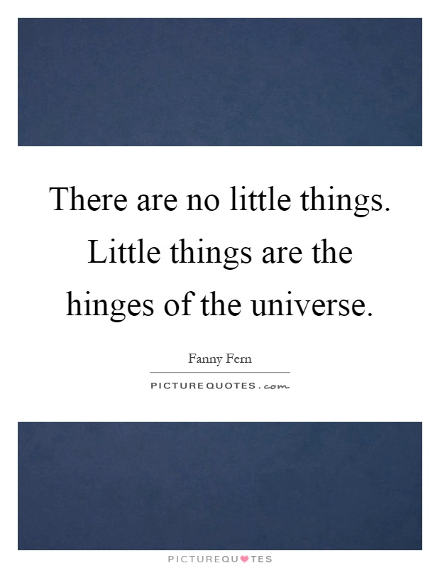 There are no little things. Little things are the hinges of the universe Picture Quote #1