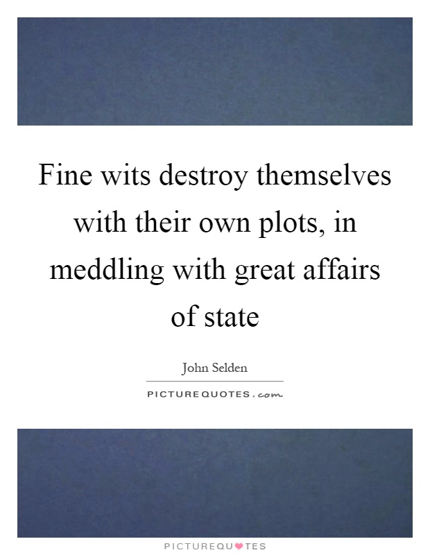 Fine wits destroy themselves with their own plots, in meddling with great affairs of state Picture Quote #1