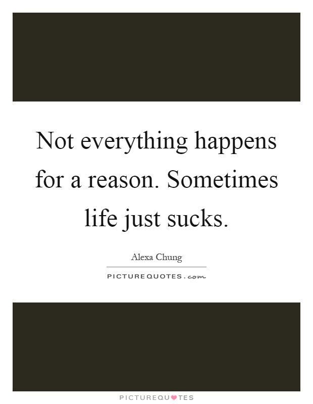 Not everything happens for a reason. Sometimes life just sucks Picture Quote #1