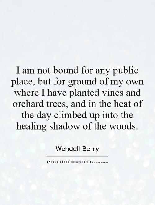 I am not bound for any public place, but for ground of my own where I have planted vines and orchard trees, and in the heat of the day climbed up into the healing shadow of the woods Picture Quote #1