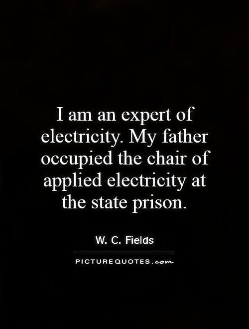 I am an expert of electricity. My father occupied the chair of applied electricity at the state prison Picture Quote #1