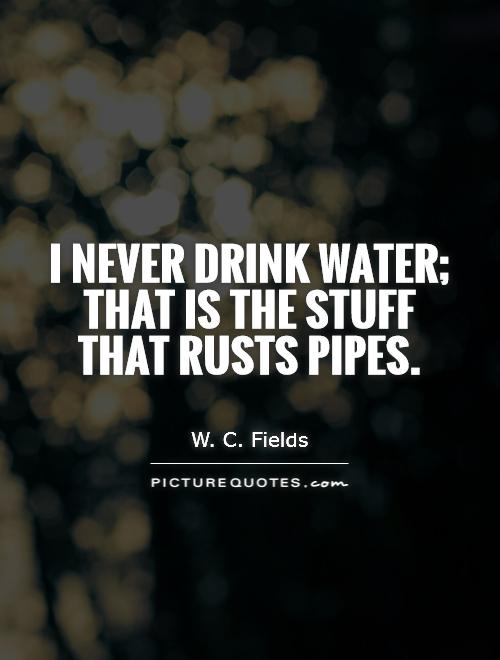 I never drink water; that is the stuff that rusts pipes Picture Quote #1