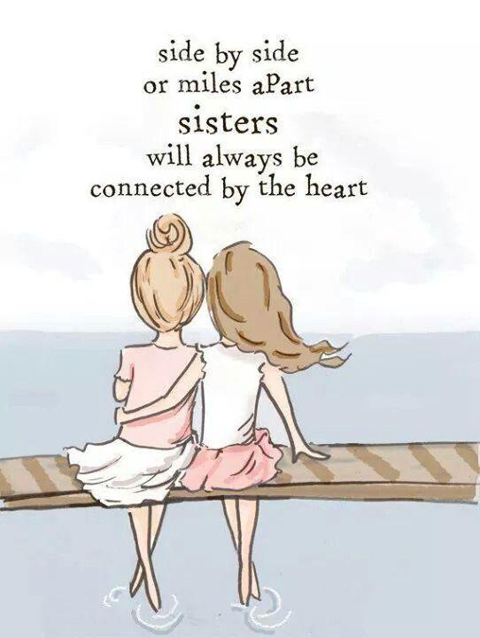 Side by side or miles apart, sisters will always be connected by the heart Picture Quote #1