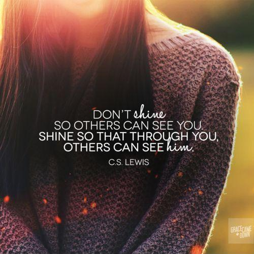 Don't shine so others can see you. Shine so that through you, others can see Him Picture Quote #1