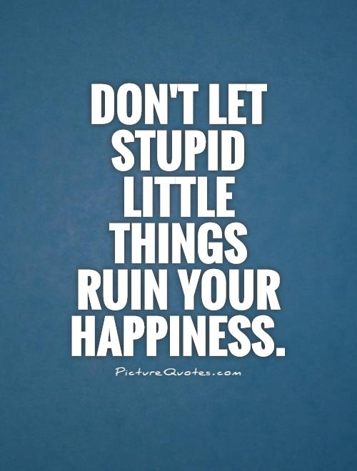 Don't let stupid little things ruin your happiness Picture Quote #1