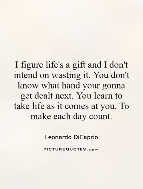 I figure life's a gift and I don't intend on wasting it. You don't know what hand your gonna get dealt next. You learn to take life as it comes at you. To make each day count Picture Quote #1