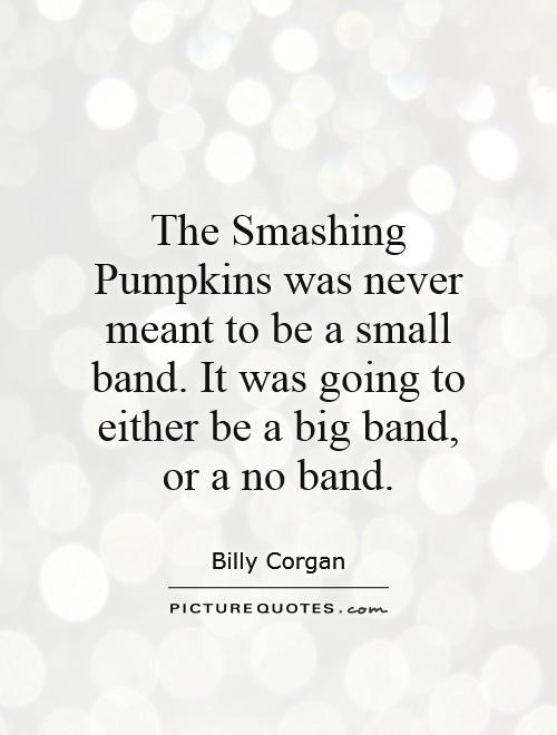 The Smashing Pumpkins was never meant to be a small band. It was going to either be a big band, or a no band Picture Quote #1